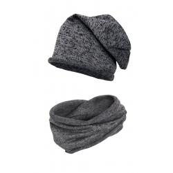 Komplet komin i czapka swetrówka. melanż.