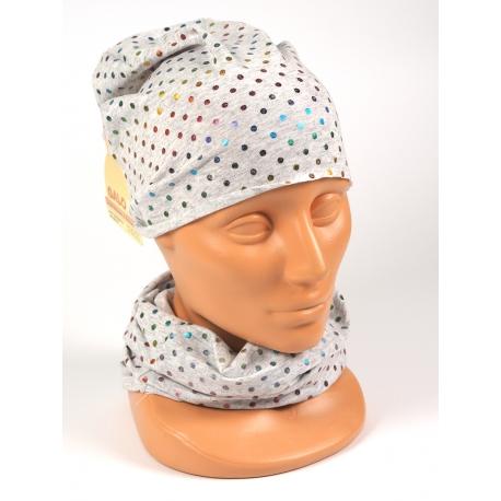 Komplet czapka komin (Tuba) Dziecinny kropki